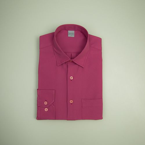 Camisa Casual Masculina Tradicional Microfibra Rosa 075 09494