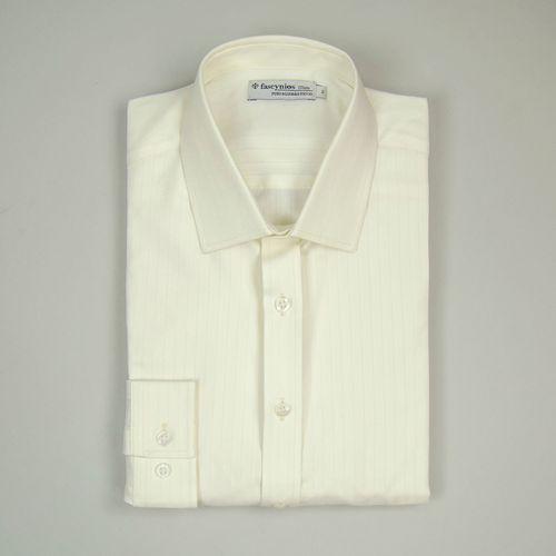 Camisa Slim Masculina Slim Algodão Fio 50 Branco 310 06395