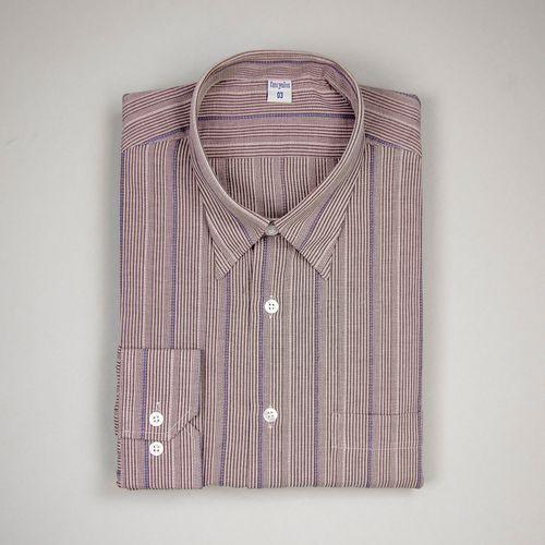 Camisa Slim Masculina Slim Algodão Misto Marrom 043 01077