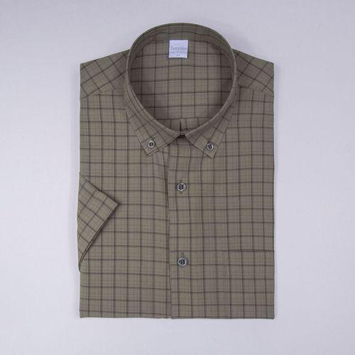 Camisa casual microfibra Marrom 105 09363