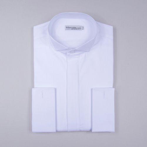 Camisa Traje a rigor Algodão Fio 60 Maquinetada Punho Duplo Branco 353 09627
